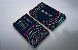 cartão de visita moderno com linhas coloridas vetor