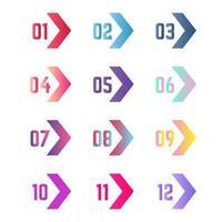 coleção de marcadores de setas coloridas vetor