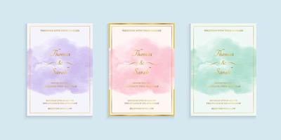 conjunto de convite de casamento em aquarela vetor