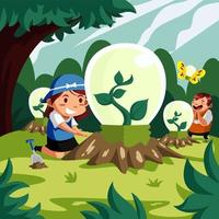crianças fofas em ambiente de tecnologia ecológica vetor