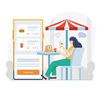 pedindo comida online em um café vetor