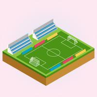 Ilustração isométrica de campo de futebol e futebol