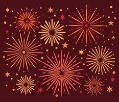Vector fogos de artifício coloridos