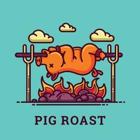 Ilustração de porco assado vetor