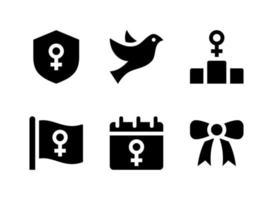 conjunto simples de ícones sólidos de vetor relacionados ao dia das mulheres. contém ícones como escudo, pomba voadora, pódio, bandeira ondulante e muito mais.