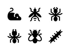 conjunto simples de ícones sólidos do vetor relacionados ao controle de pragas. contém ícones como mouse, mosquito, formiga, cupim e muito mais.