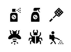 conjunto simples de ícones sólidos do vetor relacionados ao controle de pragas. contém ícones como spray, mata-moscas, vaga-lume, besouro e muito mais.