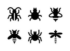 conjunto simples de ícones sólidos do vetor relacionados ao controle de pragas. contém ícones como barata, ácaro, abelha, vespa e muito mais.