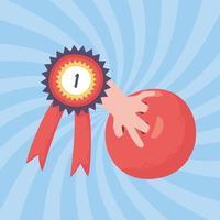 mão de boliche com bola e prêmio de medalha vetor