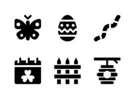 conjunto simples de ícones sólidos de vetor relacionados à mola. contém ícones como borboleta, ovo de páscoa, minhoca e muito mais.