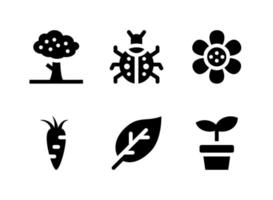 conjunto simples de ícones sólidos de vetor relacionados à mola. contém ícones como árvore, joaninha, flor, cenoura e muito mais.