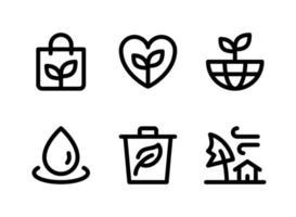 conjunto simples de ícones de linha do vetor relacionados à ecologia. contém ícones como saco ecológico, mundo, gota d'água, lixo e muito mais.