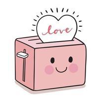 mão desenhar desenhos animados fofo dia dos namorados. torradeira de pão e vetor de coração.