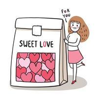 mão desenhar cartoon fofo dia dos namorados, mulher e corações doces em um vetor de bolsa.