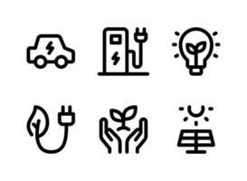 conjunto simples de ícones de linha do vetor relacionados à ecologia. contém ícones como carro elétrico, estação de carregamento, lâmpada ecológica, plugue e muito mais.