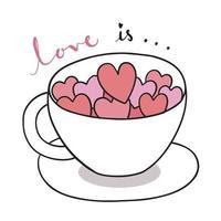 mão desenhar desenhos animados fofo dia dos namorados. corações em vetor de xícara de café.