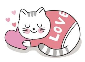 mão desenhar cartoon fofo dia dos namorados. gato sonolento em vetor de coração.