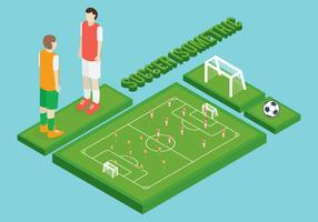 Conjunto de futebol isométrico vetor