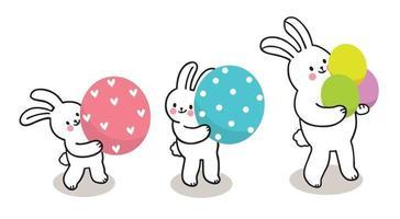 dia de Páscoa. três coelhinhos e ovos coloridos, mão desenhar desenhos animados bonitos vetor.