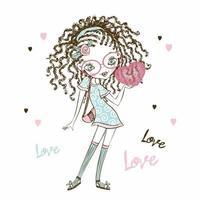 menina adolescente fashionista bonita com rabo de cavalo com um coração nas mãos. cartão de dia dos namorados. vetor.