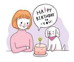 feliz aniversário, mulher e cachorro e bolo doce mão desenhar vetor bonito dos desenhos animados.