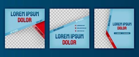 design estético de roupas de moda azul para pacote de postagens de mídia social. o design de ilustração vetorial pode ser usado para site, página da web, cartaz, folheto, plano de fundo, outdoor, carta impressa, convite, anúncios vetor