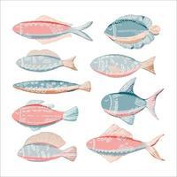 peixes étnicos desenhados à mão vetor