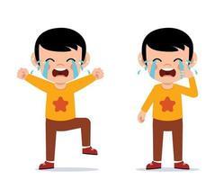 garotinho bonito chora. criança gritando, chorando conceito vetor