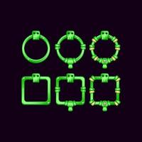 conjunto de moldura de borda de interface do usuário do jogo com símbolo de crânio para elementos de recursos de interface do usuário