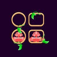conjunto de folhas de madeira da interface do usuário do jogo com ilustração vetorial de visualização de avatar de personagem