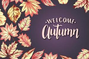bem-vindo modelo de quadro de outono vetor