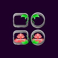 conjunto de pedra da interface do usuário do jogo deixa a borda com ilustração em vetor de visualização de avatar do personagem