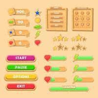 conjunto básico de kit de madeira ui rgbgame. interface de usuário, menu, barra, conjunto completo. gui para ilustração vetorial gui 2d