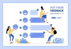 o usuário fornece comentários e feedback sobre os serviços usando o emoticon facial. experiência positiva do usuário. projetado para página de destino, banner, site, web, pôster, aplicativos móveis, página inicial, folheto, brochura vetor