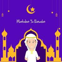 modelo de banner início ramadan. ilustração em vetor de um homem levantando a mão para dar as boas-vindas ao próximo mês do Ramadã.