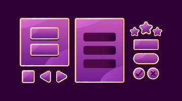 conjunto de placa de interface do usuário de jogo roxo dourado pop-up e botão para ilustração vetorial de elementos de ativos de interface