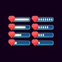 conjunto de barra de saúde de progresso de fantasia de gui para ilustração vetorial de elementos de ativos de interface do usuário do jogo