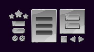 conjunto de placa de interface do usuário de jogo de pedra de pedra e botão para ilustração vetorial de elementos de ativos de gui
