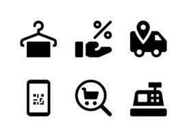 conjunto simples de ícones sólidos de vetor relacionados com comércio eletrônico. contém ícones como cabide de roupas, dá desconto, entrega, telefone e muito mais.