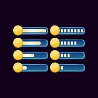 conjunto de barra de moeda de progresso de fantasia de gui para ilustração vetorial de elementos de ativos de interface do usuário do jogo