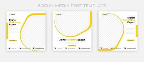 conjunto de anúncios de banner editáveis. modelo de postagem de mídia social de marketing digital