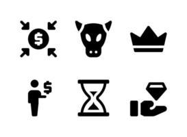 conjunto simples de ícones sólidos de vetor relacionados a investimentos. contém ícones como crowdfunding, touro, coroa, investidor e muito mais.