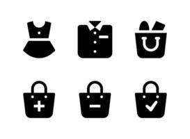 conjunto simples de ícones sólidos de vetor relacionados com comércio eletrônico. contém ícones como vestido, camisa, sacola de compras e muito mais.