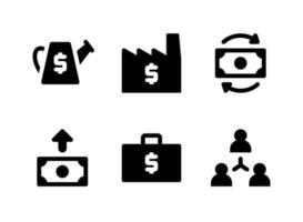 conjunto simples de ícones sólidos de vetor relacionados a investimentos. contém ícones como regador, fábrica, fluxo de caixa, aumento e muito mais.