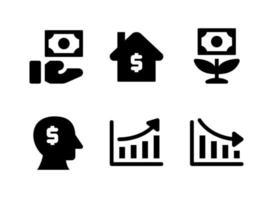conjunto simples de ícones sólidos de vetor relacionados a investimentos. contém ícones como dar dinheiro, casa, crescimento, mente e muito mais.