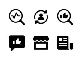 conjunto simples de ícones sólidos de vetor relacionados ao marketing. contém ícones como estatística, conta de sincronização, feedback, loja e muito mais.