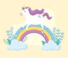 unicórnio mágico bonito dos desenhos animados com arco-íris