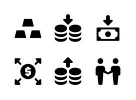 conjunto simples de ícones sólidos de vetor relacionados a investimentos. contém ícones como barras de ouro, moedas, economias, distribuir e muito mais.