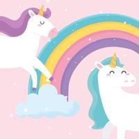 desenhos animados bonitos unicórnios mágicos com arco-íris