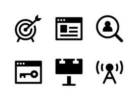 conjunto simples de ícones sólidos de vetor relacionados ao marketing. contém ícones como estatística, página da web, localização, palavra-chave e muito mais.